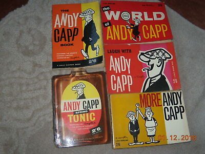 5 VINTAGE  ANDY CAPP  COMIC BOOKS---1960s--Condition--Good-all 2/6d