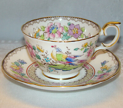 Vintage Crown Staffordshire Colorful Pheasant Bird & Flowers Cup & Saucer A15322