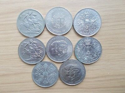 Job Lot Of Eight British Crown Coins