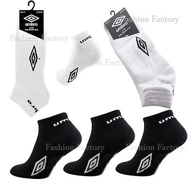 Mens Umbro Ankle Socks Three Pack Sports White Black Mix Casual No Show Socks