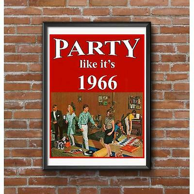 Party Like Its 1966 Poster - Twister Dancing Basement Rumpus Room Party