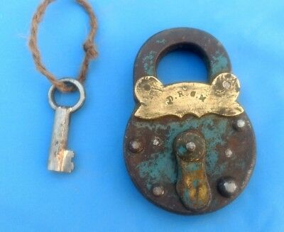 Antique Old Rare Iron D & L Mark Fine Two 2 Touren Unique Key Padlock Germany