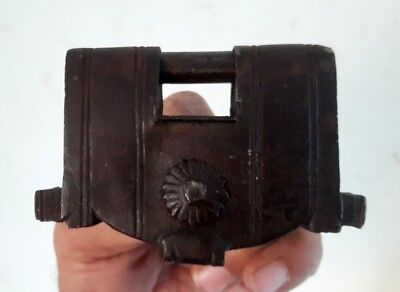 Antique Old Rare Iron Hand Made Carved Unique Indian Gujrati Padlock With Key