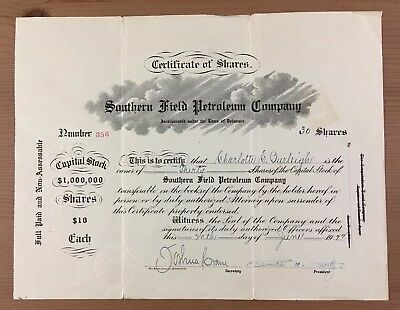 Southern Field Petroleum Company Stock Certificate Delaware 30 Shares 1922