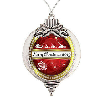 Merry Christmas 2018 Bulb Ornament Silver Plated Metal Gift Keepsake Decoration