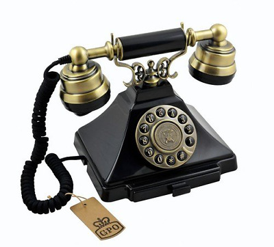 Classic Vintage Telephone with Push Button Dial Retro Phone Black Corded