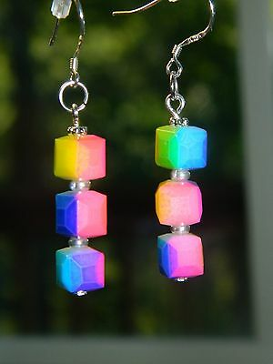 Earrings rainbow glass candy cube SS mkd .925 blue pink yellow orange green