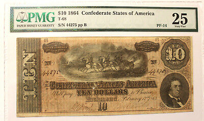 T-68 1864 $10 Confederate Currency, CSA PMG 25  VERY Fine  SERIAL PF-14  RV R8
