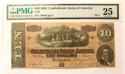 T-68 1864 $10 Confederate Currency, CSA PMG 25  VERY Fine  SERIAL PF-1   RV R9