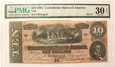 T-68 1864 $10 Confederate Currency, CSA PMG 30 EPQ CHOICE VERY FINE PF-27