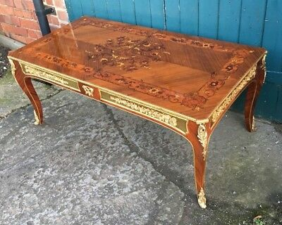 Antique French Style Rosewood Marquetry & Gilt Effect Coffee Table