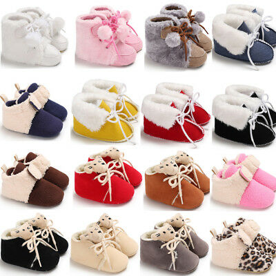 Baby Girls Boys Autumn Winter Warm Boots Newborn Toddler Infant Soft Sole Shoes