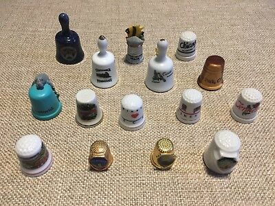 Lot Of 15+1 NEW Pewter Thimble USA Places Souvenir VINTAGE Wood Metal Ceramic