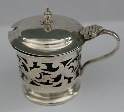 Sterling Silver Mustard Pot with blue glass liner   Birmingham 1904