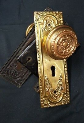 Victorian Ornate Brass Door Knob set with Plates and Mortise Lock - No Key