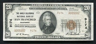 1929 $20 Tyii The Anglo California National Bank Of San Francisco, Ca Ch #9174