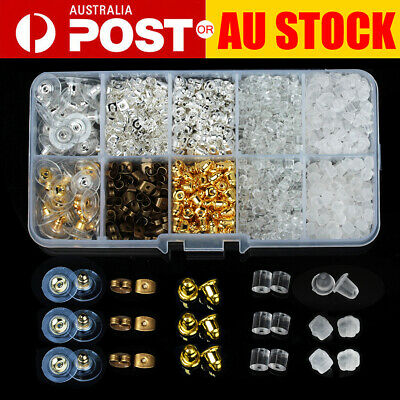 1040PCS STUD EARRING BACKS Assorted Gold Silver Silicone Findings Stoppers Set