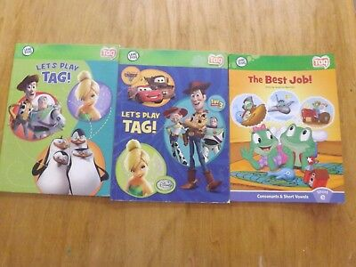 Lot Of 3 Leap Frog Tag Reader Books Boy / Girls Disney Tinker Woody Mater Buzz