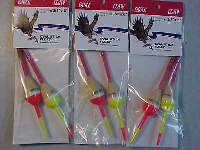 "24 NEW EAGLE CLAW FISHING SPRING stick BOBBERS BALSA WOOD FLOATS 1//2/""  ice"
