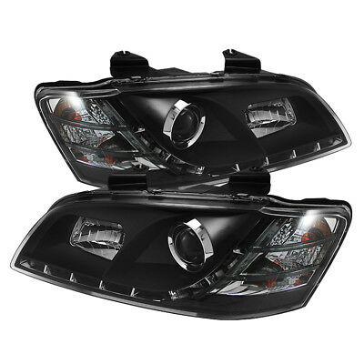 Pontiac 08-10 G8 Black Daytime Running LED Projector Headlights Set GT GXP Base