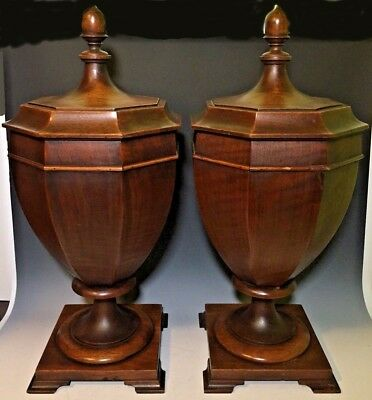 Pair of Antique Mahogany Urn Shape Knive Boxes