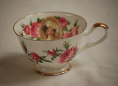 Vintage 1991 Avon Mrs. Albee Honor Society Footed Tea Cup w Pink Roses Gold Trim
