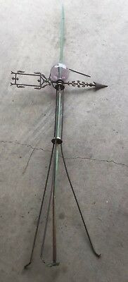 "Vintage Lightning Rod With Weathervane Arrow And Glass Ball 68"" Tall"