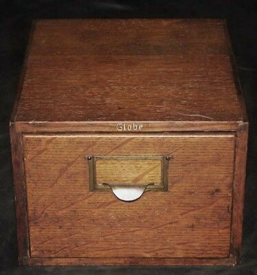 Wide, Vintage Globe Library Index Card Catalog 1 Drawer File Box