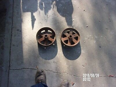 """Antique  9"""" Cast Steel Wheels For Barn Doors Or Moving Cart"""