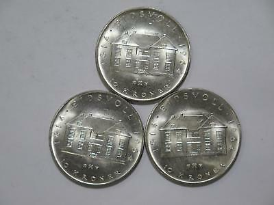 3- Norway 1964 10 Kroner Constitution Silver Unc World Coin Collection Lot #tue