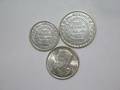 Morocco 1953 200 100 Francs 1960 1 Dirham Silver Type World Coin Collection Lot
