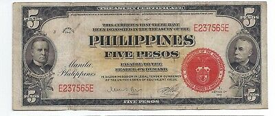 1941 PHILIPPINE 5 PESO RED SEAL p-91 SCARCE