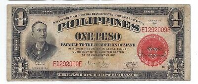 1941 PHILIPPINES 1 PESO  Red Seal