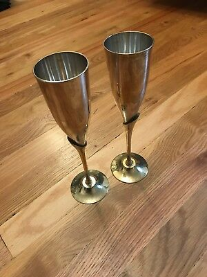 Set of two silver champagne/goblet set with gold stems
