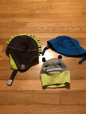 Lot Of Infant Boys Gray Blue Green Winter Hats Size 6–12 Months