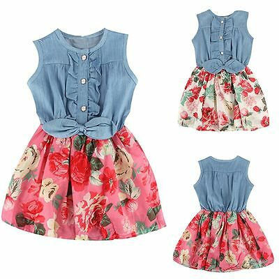 Kids Girls Flower Denim Skirts Dress Princess Casual Party Bow Sleeveless Summer