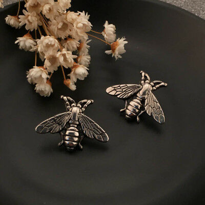 2x Vintage Brooches Small Fresh Bee Brooch Retro Men Metal Suit Collar Pin tall