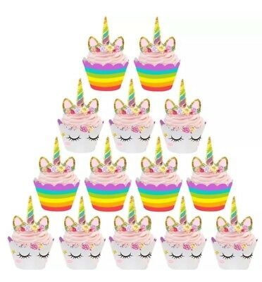 24pcs Cute Rainbow Unicorn Cupcake Cake Wrappers Toppers Baby  Kids Children