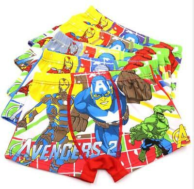 10 PCS Cartoon Avenger Boys Children Underwear Cotton Panties Boxer Brief Kid