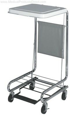 "Medline 18"" Medical Hamper Stand With Foot Pedal Chrome MDS80529 Single Bag"