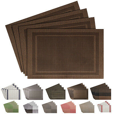 Set Of 4 Place Mats Pvc Dining Table Placemats Washable Heat Resistant Non Slip