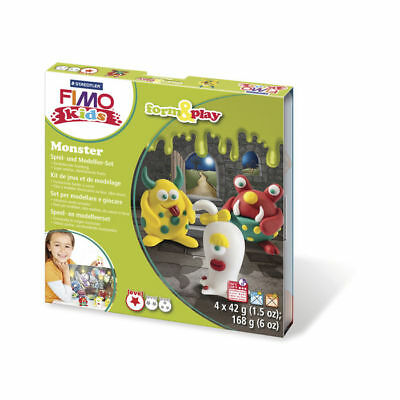 (10,65 € / 100 g) NEU Fimo kids Form&Play: Monster, 4 x 42 g, Box