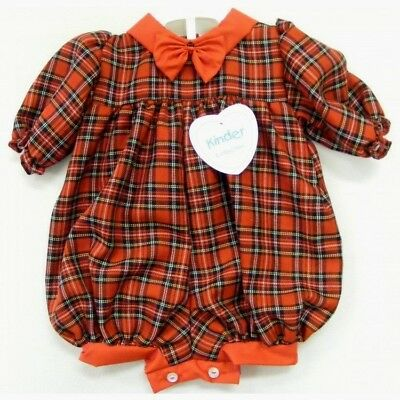 Kinder Traditional Baby Girls Boys Spanish Style Red Tartan Romper Outfit AW18