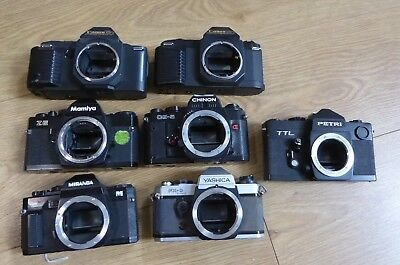 Job Lot of Vintage SLR Film Cameras - Canon / Yashica / Mamiya / Petri / Chinon