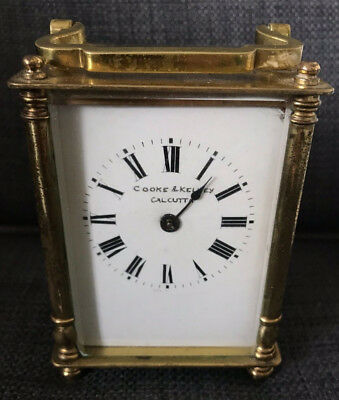 Antique French Cooke & Kelvey Calcutta Mantel Carriage Clock Skeleton Movement