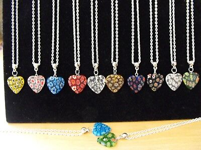 Wholesale Jewellery 12 Millefiori Heart Necklaces, Gift, Party Bags Job Lot.
