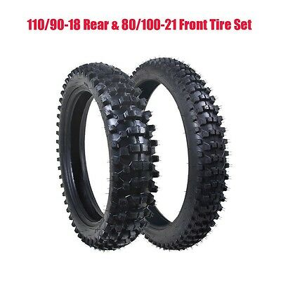 90/100-18 Rear 80/100-21 Front Motocross Trail Dirt Pit Bike Tyre Set + Tube