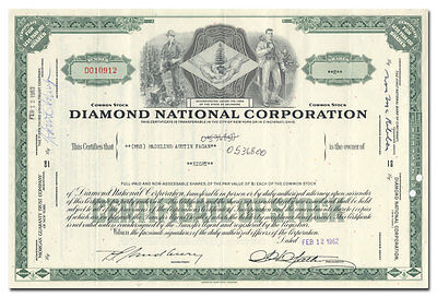 Diamond National Corporation Stock Certificate - Great Vignette!