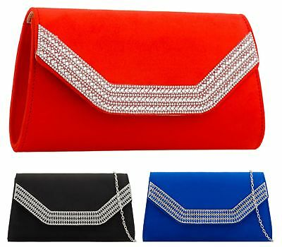 Womens Kim Faux Suede Ladies Clutch Bag Envelope Wedding Prom Party Evening