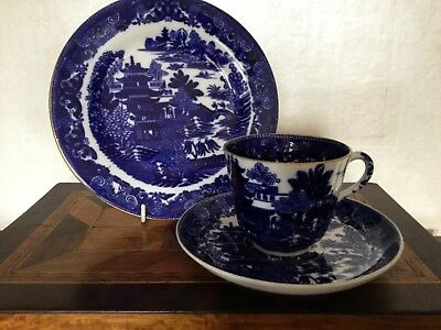 Antique 19Th Century Copeland Two Temples Blue And White Trio